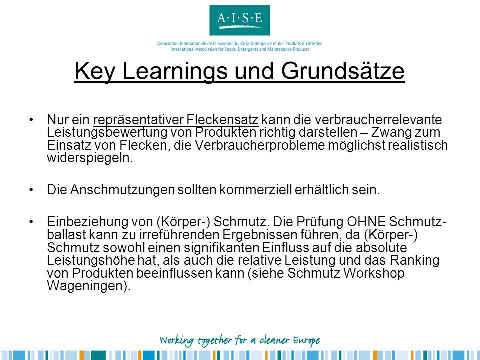 Key Learnings und Grundsätze Nur ein repräsentativer Fleckensatz kann die verbraucherrelevante Leistungsbewertung von Produkten richtig darstellen – Z