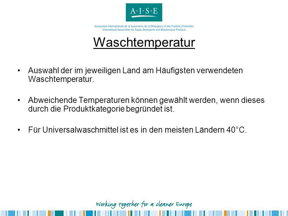 Waschtemperatur Auswahl der im jeweiligen Land am Häufigsten verwendeten Waschtemperatur. Abweichende Temperaturen können gewählt werden, wenn dieses