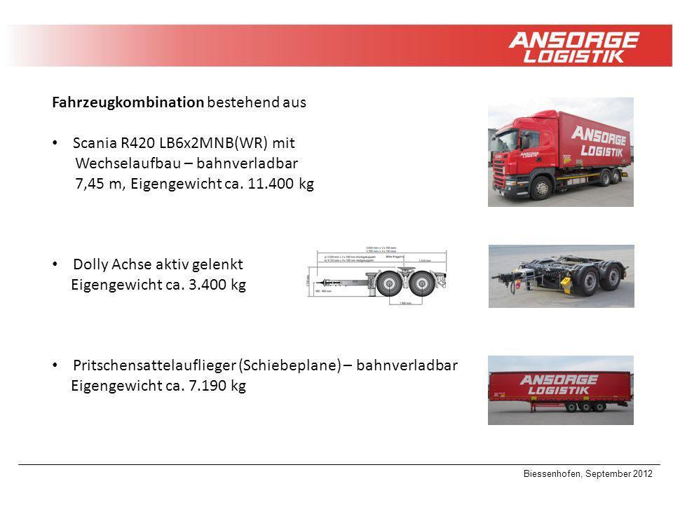 Biessenhofen, September 2012 Fahrzeugkombination bestehend aus Scania R420 LB6x2MNB(WR) mit Wechselaufbau – bahnverladbar 7,45 m, Eigengewicht ca. 11.
