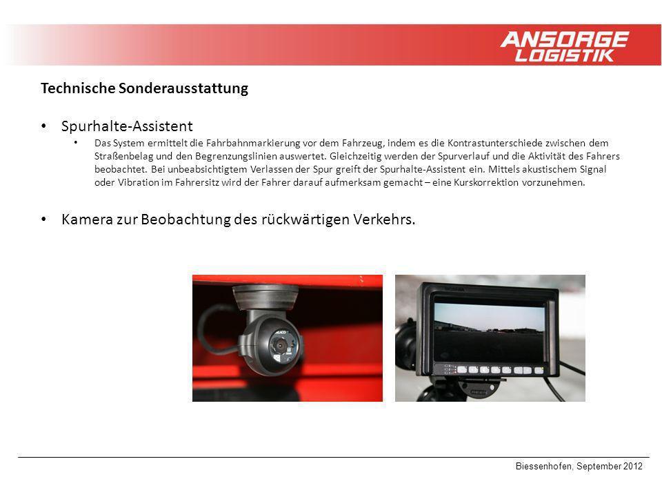 Biessenhofen, September 2012 Technische Sonderausstattung Spurhalte-Assistent Das System ermittelt die Fahrbahnmarkierung vor dem Fahrzeug, indem es d