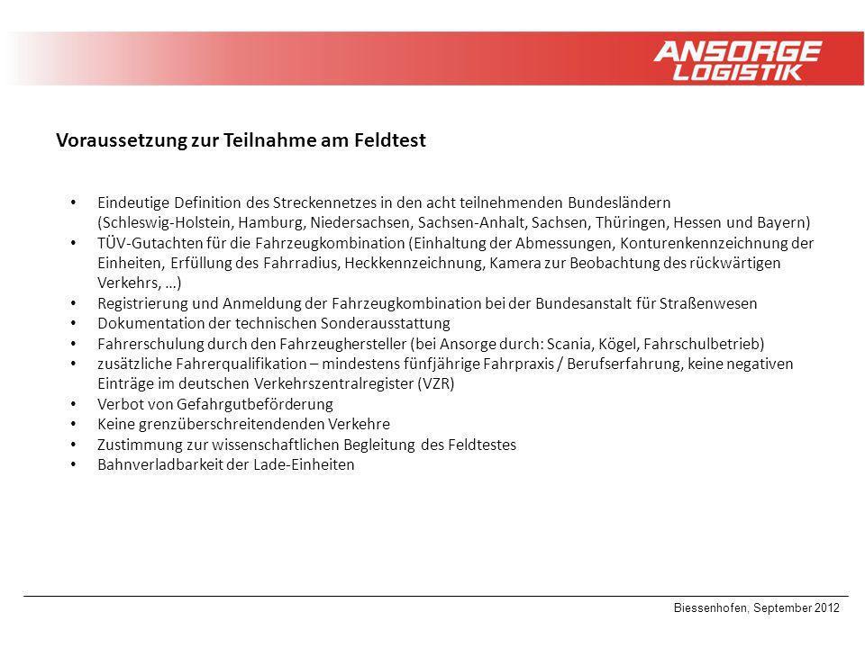 Biessenhofen, September 2012 Voraussetzung zur Teilnahme am Feldtest Eindeutige Definition des Streckennetzes in den acht teilnehmenden Bundesländern