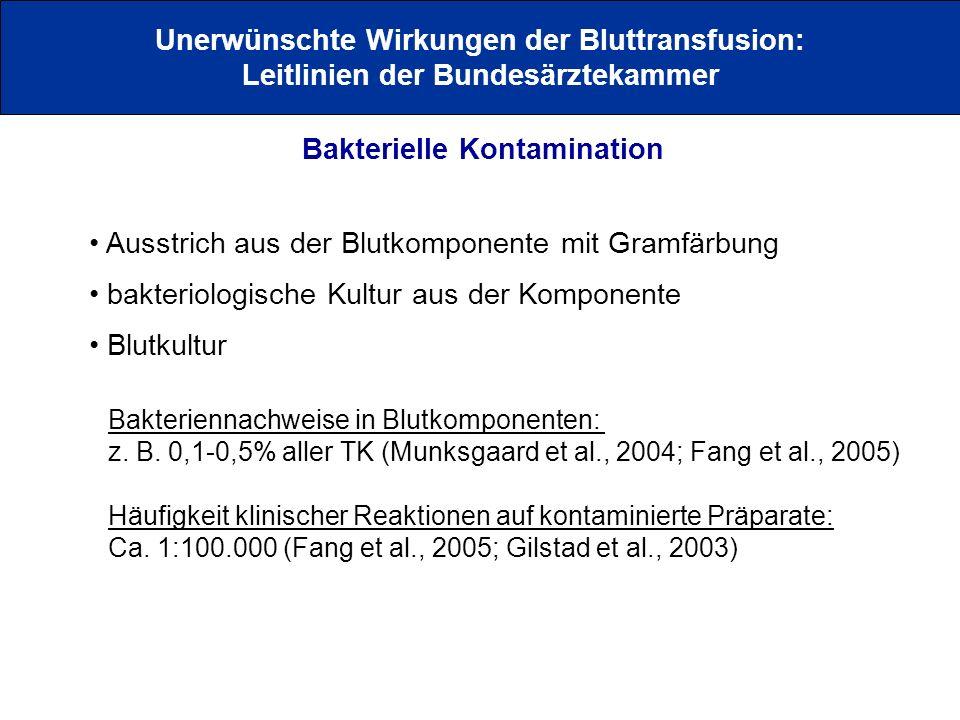 Bakterielle Kontamination Unerwünschte Wirkungen der Bluttransfusion: Leitlinien der Bundesärztekammer Ausstrich aus der Blutkomponente mit Gramfärbun