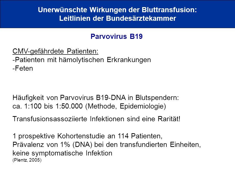 Unerwünschte Wirkungen der Bluttransfusion: Leitlinien der Bundesärztekammer Parvovirus B19 CMV-gefährdete Patienten: -Patienten mit hämolytischen Erk