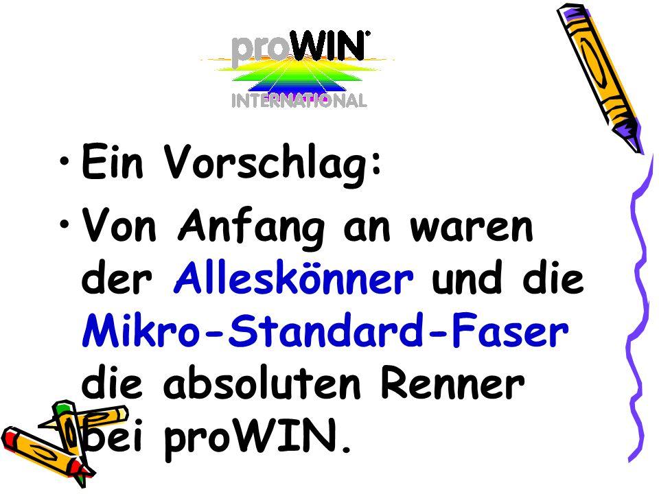 Ein Vorschlag: Von Anfang an waren der Alleskönner und die Mikro-Standard-Faser die absoluten Renner bei proWIN.