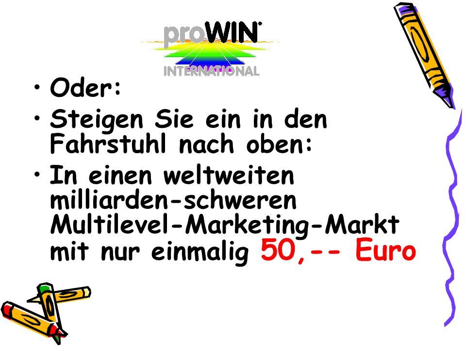 Oder: Steigen Sie ein in den Fahrstuhl nach oben: In einen weltweiten milliarden-schweren Multilevel-Marketing-Markt mit nur einmalig 50,-- Euro