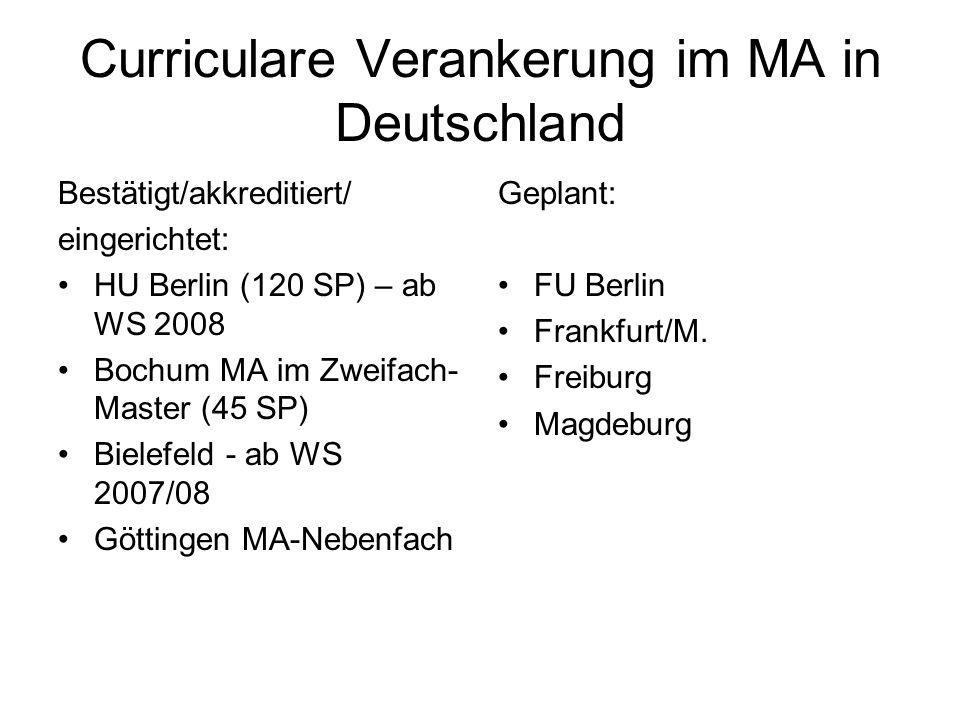 Curriculare Verankerung im MA in Deutschland Bestätigt/akkreditiert/ eingerichtet: HU Berlin (120 SP) – ab WS 2008 Bochum MA im Zweifach- Master (45 S
