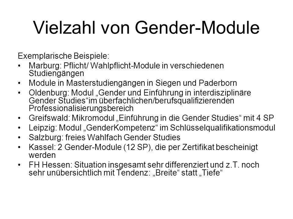 Vielzahl von Gender-Module Exemplarische Beispiele: Marburg: Pflicht/ Wahlpflicht-Module in verschiedenen Studiengängen Module in Masterstudiengängen
