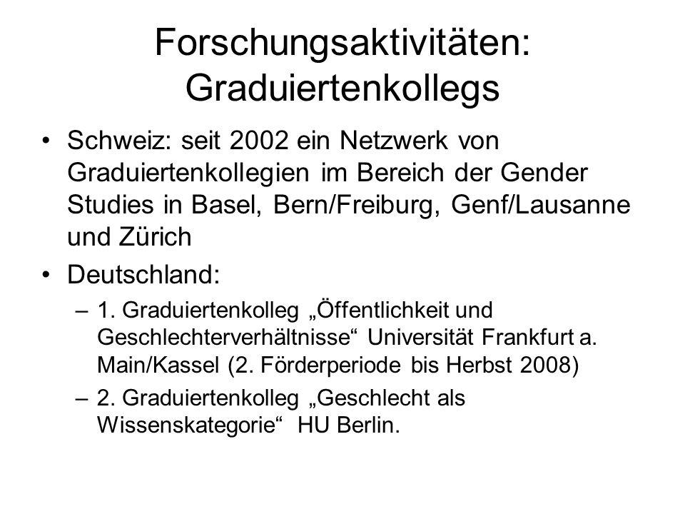 Forschungsaktivitäten: Graduiertenkollegs Schweiz: seit 2002 ein Netzwerk von Graduiertenkollegien im Bereich der Gender Studies in Basel, Bern/Freibu