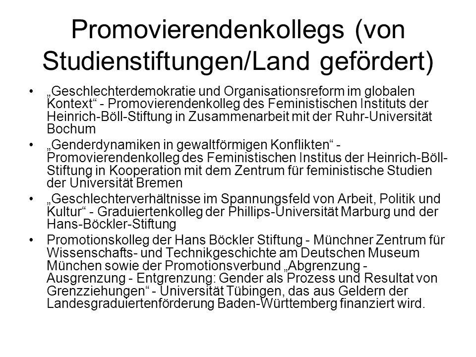 Promovierendenkollegs (von Studienstiftungen/Land gefördert) Geschlechterdemokratie und Organisationsreform im globalen Kontext - Promovierendenkolleg