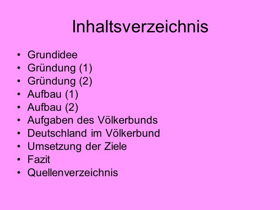 Inhaltsverzeichnis Grundidee Gründung (1) Gründung (2) Aufbau (1) Aufbau (2) Aufgaben des Völkerbunds Deutschland im Völkerbund Umsetzung der Ziele Fa