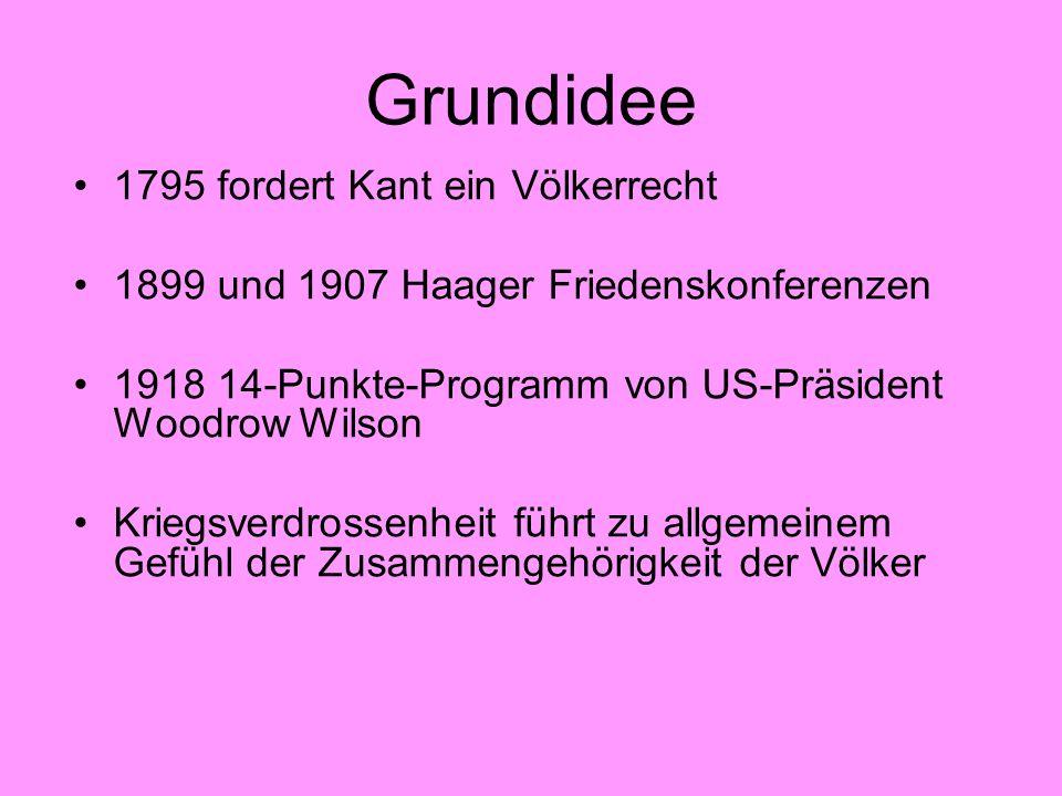 Grundidee 1795 fordert Kant ein Völkerrecht 1899 und 1907 Haager Friedenskonferenzen 1918 14-Punkte-Programm von US-Präsident Woodrow Wilson Kriegsver