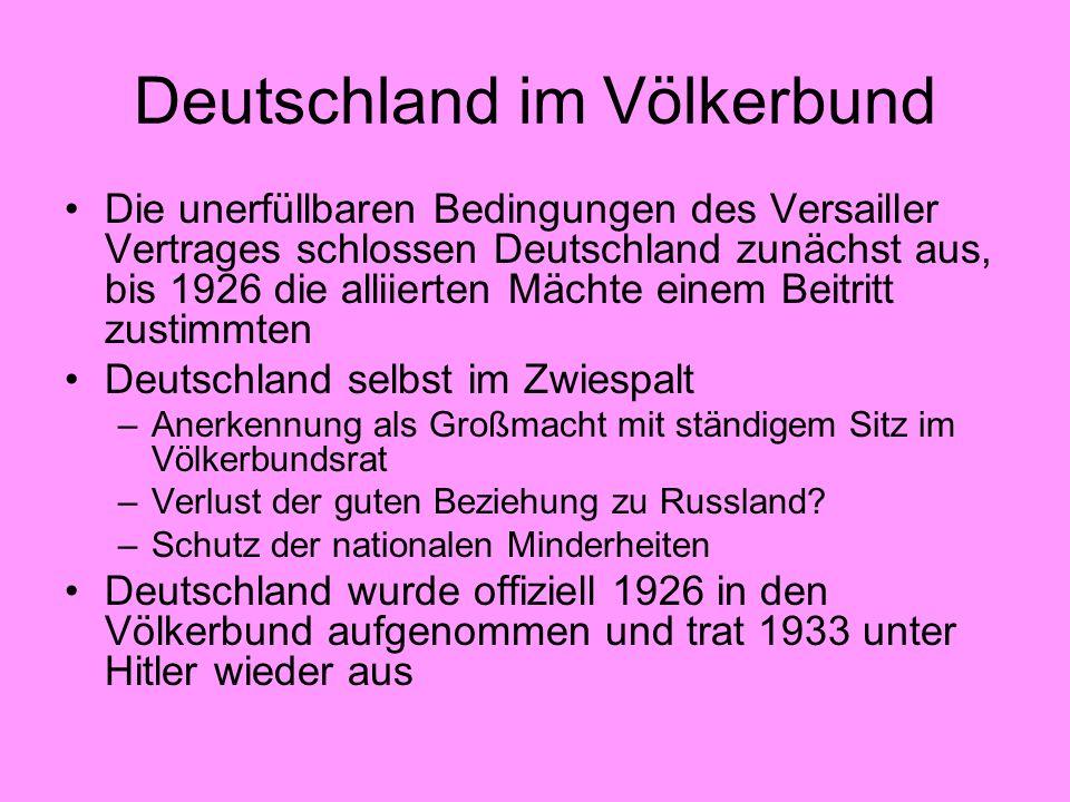 Deutschland im Völkerbund Die unerfüllbaren Bedingungen des Versailler Vertrages schlossen Deutschland zunächst aus, bis 1926 die alliierten Mächte ei
