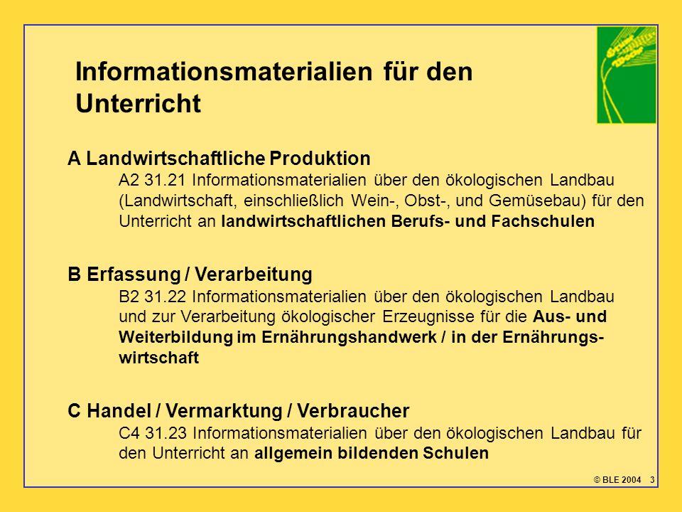 © BLE 2004 3 Informationsmaterialien für den Unterricht A Landwirtschaftliche Produktion A2 31.21 Informationsmaterialien über den ökologischen Landba