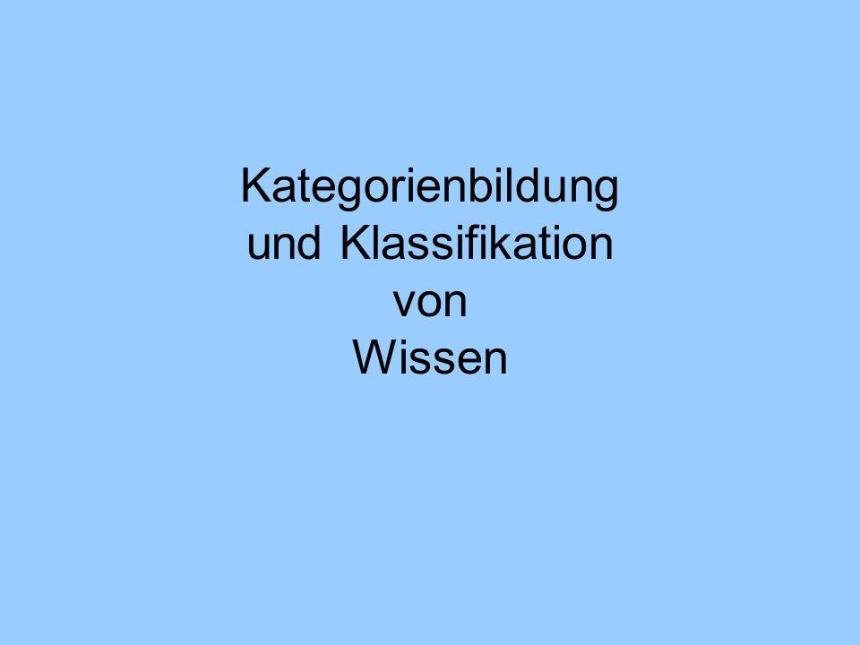 Kategorienbildung und Klassifikation von Wissen