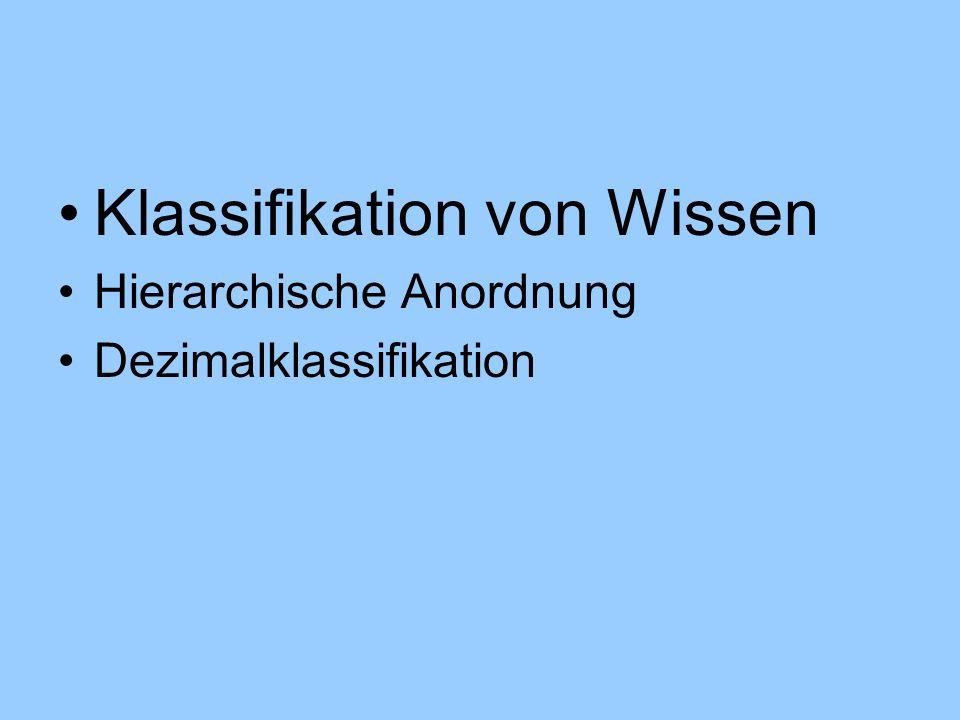 Klassifikation von Wissen Hierarchische Anordnung Dezimalklassifikation
