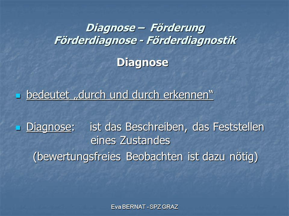 Eva BERNAT - SPZ GRAZ Diagnose – Förderung Förderdiagnose - Förderdiagnostik Diagnose bedeutet durch und durch erkennen bedeutet durch und durch erken