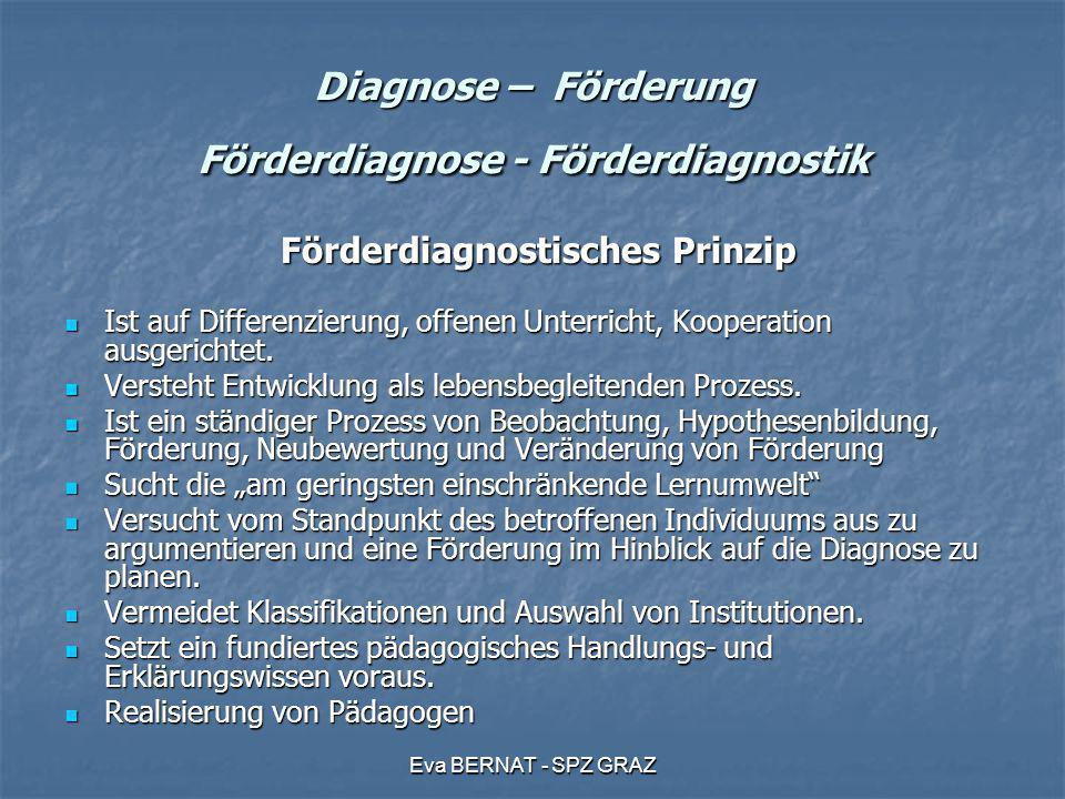 Eva BERNAT - SPZ GRAZ Diagnose – Förderung Förderdiagnose - Förderdiagnostik Förderdiagnostisches Prinzip Förderdiagnostisches Prinzip Ist auf Differe