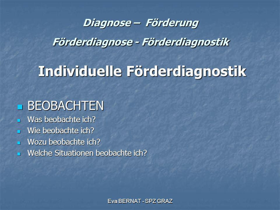 Eva BERNAT - SPZ GRAZ Diagnose – Förderung Förderdiagnose - Förderdiagnostik Individuelle Förderdiagnostik Individuelle Förderdiagnostik BEOBACHTEN BE