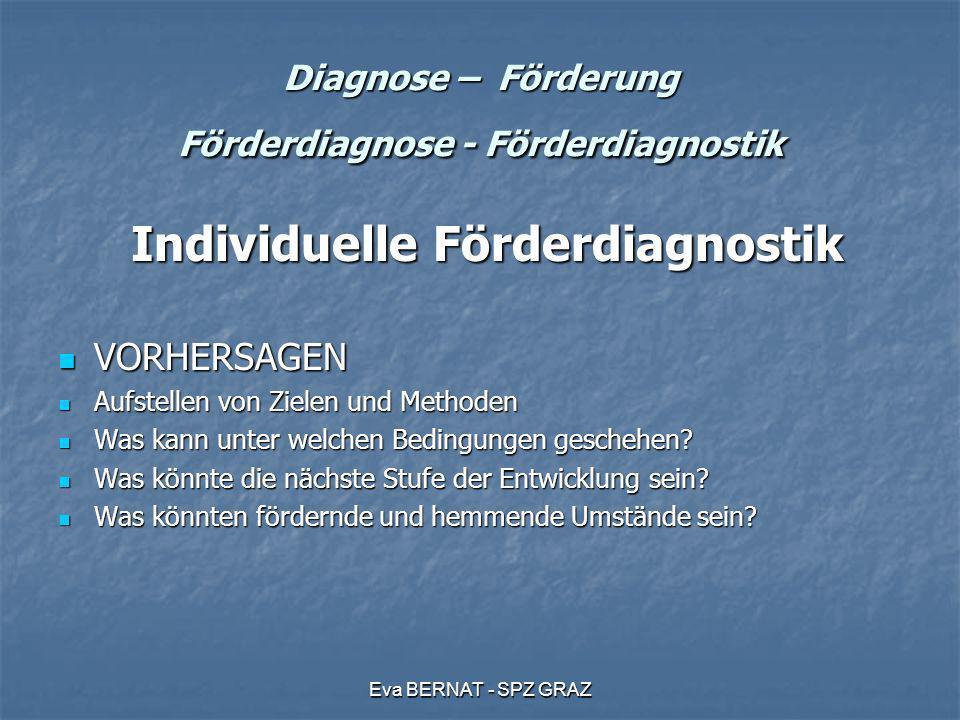 Eva BERNAT - SPZ GRAZ Diagnose – Förderung Förderdiagnose - Förderdiagnostik Individuelle Förderdiagnostik Individuelle Förderdiagnostik VORHERSAGEN V