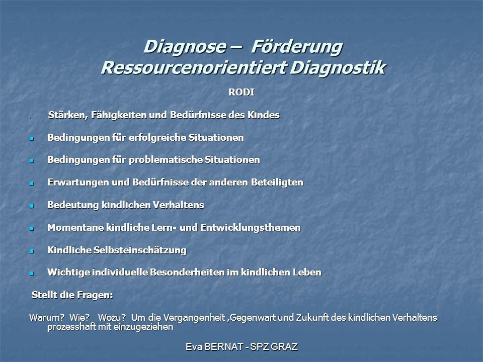 Eva BERNAT - SPZ GRAZ Diagnose – Förderung Ressourcenorientiert Diagnostik RODI Stärken, Fähigkeiten und Bedürfnisse des Kindes Stärken, Fähigkeiten u