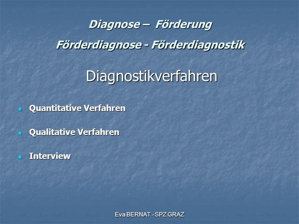 Eva BERNAT - SPZ GRAZ Diagnose – Förderung Förderdiagnose - Förderdiagnostik Grundhaltung der Diagnostik Grundhaltung der Diagnostik Defizitdiagnostik Defizitdiagnostik Ressourcendiagnostik Ressourcendiagnostik