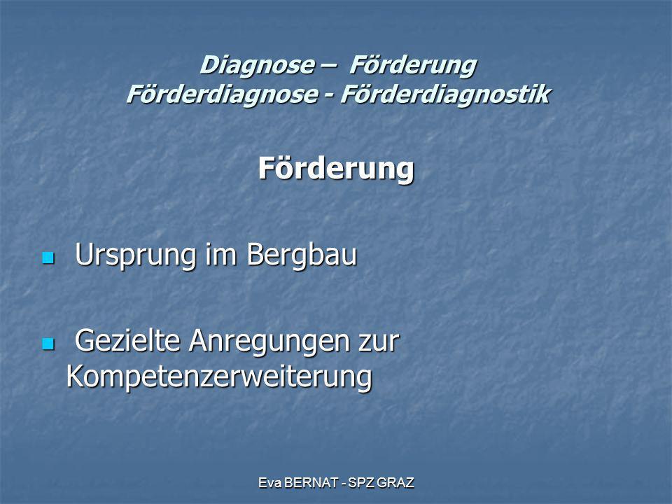 Eva BERNAT - SPZ GRAZ Diagnose – Förderung Förderdiagnose - Förderdiagnostik Förderdiagnose beinhaltet das Erweitern der Beschreibung zu Interventionen, zum pädagogischen Handeln beinhaltet das Erweitern der Beschreibung zu Interventionen, zum pädagogischen Handeln Diagnostik und Förderung sind eine Einheit Diagnostik und Förderung sind eine Einheit