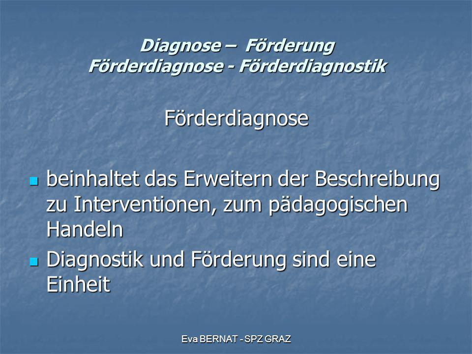 Eva BERNAT - SPZ GRAZ Diagnose – Förderung Förderdiagnose - Förderdiagnostik Förderdiagnose beinhaltet das Erweitern der Beschreibung zu Interventione