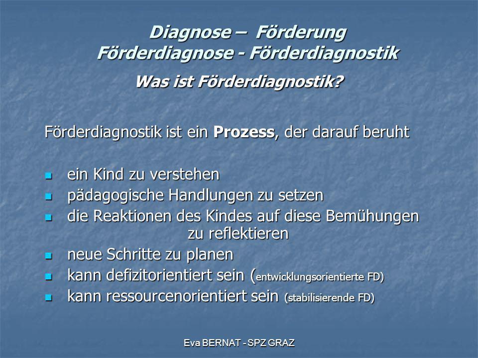 Eva BERNAT - SPZ GRAZ Diagnose – Förderung Förderdiagnose - Förderdiagnostik Was ist Förderdiagnostik? Was ist Förderdiagnostik? Förderdiagnostik ist