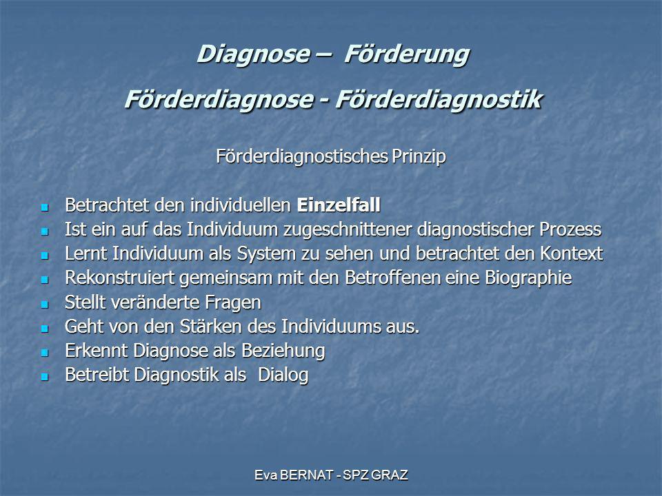 Eva BERNAT - SPZ GRAZ Diagnose – Förderung Förderdiagnose - Förderdiagnostik Förderdiagnostisches Prinzip Betrachtet den individuellen Einzelfall Betr