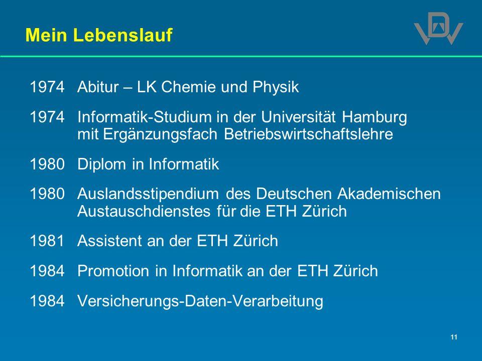 11 Mein Lebenslauf 1974Abitur – LK Chemie und Physik 1974Informatik-Studium in der Universität Hamburg mit Ergänzungsfach Betriebswirtschaftslehre 198