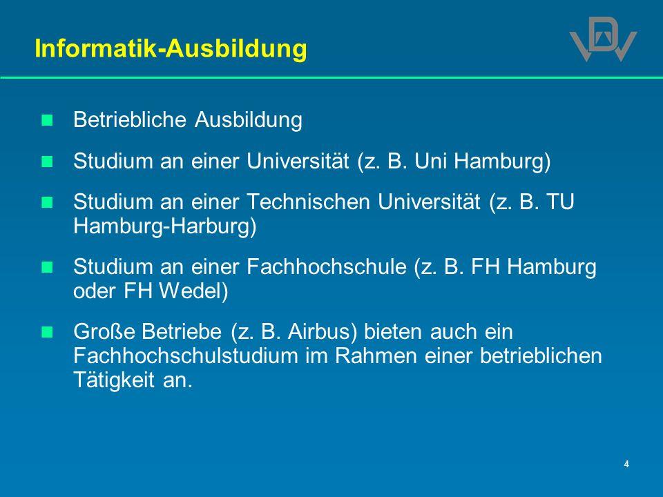 4 Informatik-Ausbildung Betriebliche Ausbildung Studium an einer Universität (z. B. Uni Hamburg) Studium an einer Technischen Universität (z. B. TU Ha