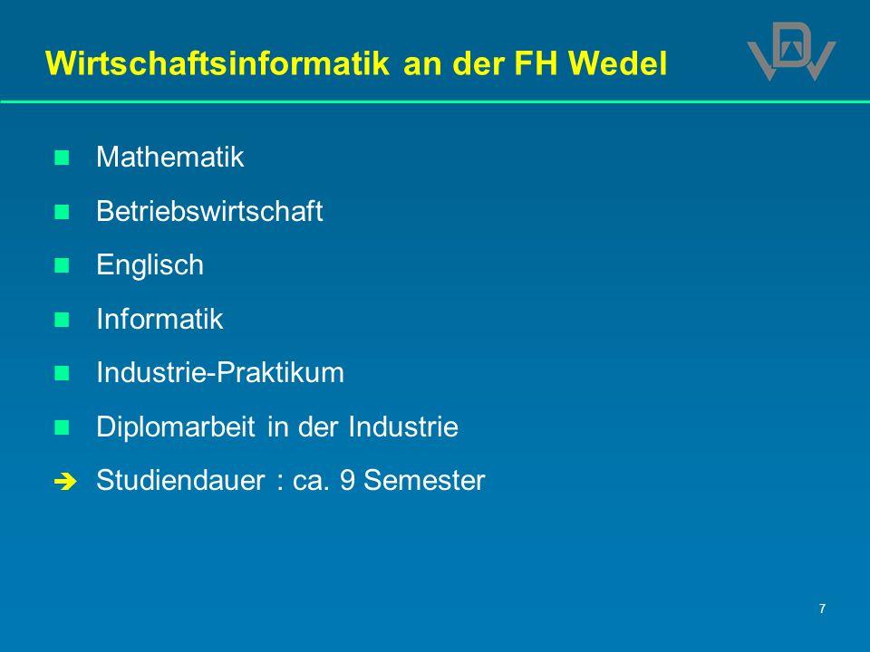 7 Wirtschaftsinformatik an der FH Wedel Mathematik Betriebswirtschaft Englisch Informatik Industrie-Praktikum Diplomarbeit in der Industrie Studiendau