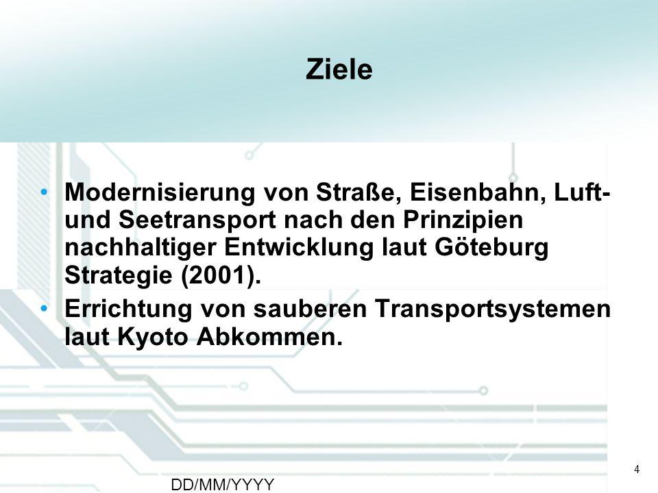 4 DD/MM/YYYY CATS - Type of meeting - Place 4 Ziele Modernisierung von Straße, Eisenbahn, Luft- und Seetransport nach den Prinzipien nachhaltiger Entw