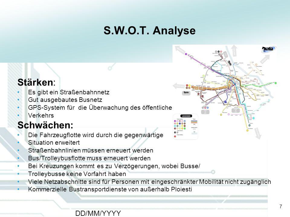 7 DD/MM/YYYY CATS - Type of meeting - Place 7 S.W.O.T. Analyse Stärken: Es gibt ein Straßenbahnnetz Gut ausgebautes Busnetz GPS-System für die Überwac