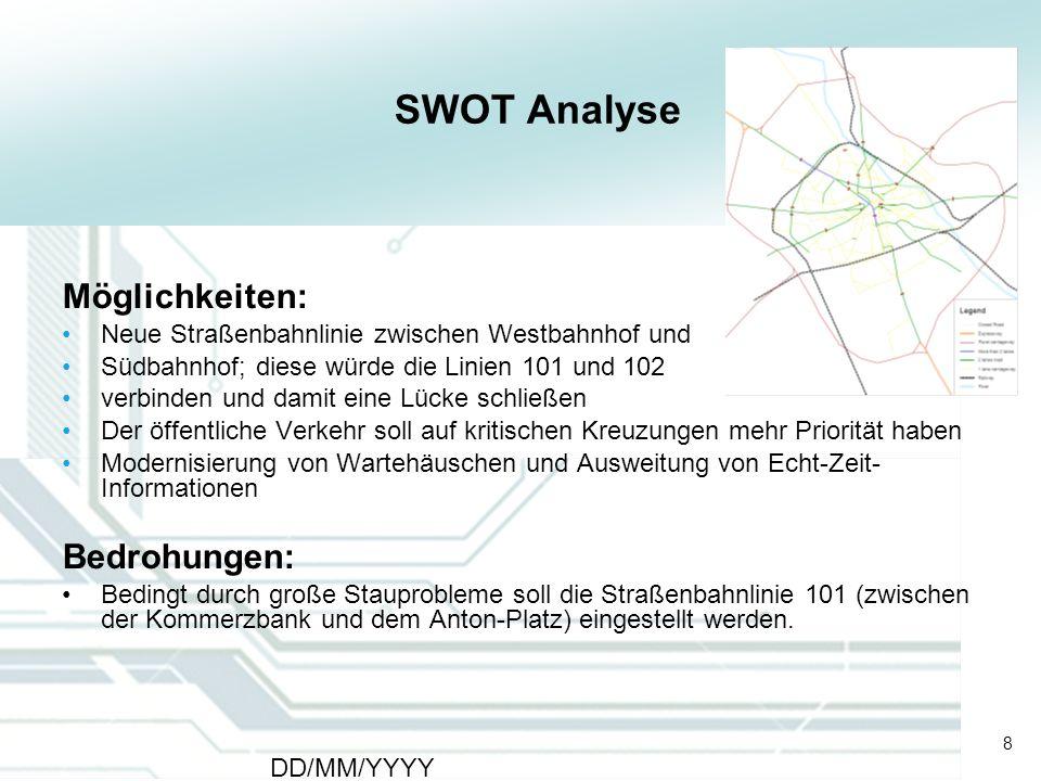 8 DD/MM/YYYY CATS - Type of meeting - Place 8 SWOT Analyse Möglichkeiten: Neue Straßenbahnlinie zwischen Westbahnhof und Südbahnhof; diese würde die L