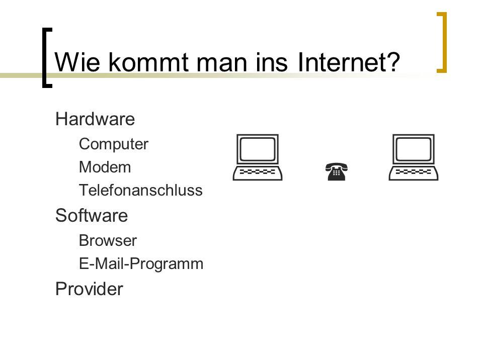 Wie kommt man ins Internet? Hardware Computer Modem Telefonanschluss Software Browser E-Mail-Programm Provider