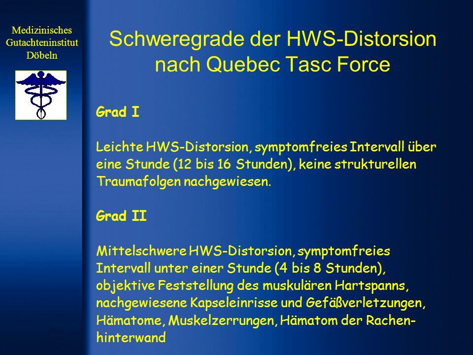 Schweregrade der HWS-Distorsion nach Quebec Tasc Force Grad I Leichte HWS-Distorsion, symptomfreies Intervall über eine Stunde (12 bis 16 Stunden), ke