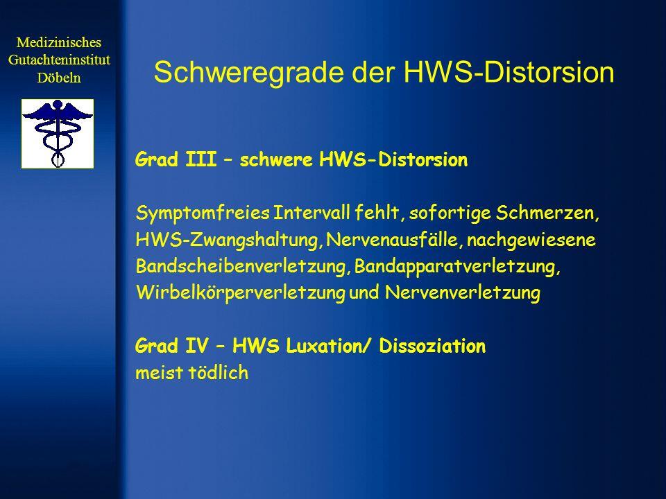 Schweregrade der HWS-Distorsion Grad III – schwere HWS-Distorsion Symptomfreies Intervall fehlt, sofortige Schmerzen, HWS-Zwangshaltung, Nervenausfäll