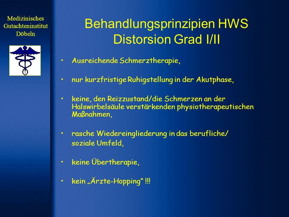 Behandlungsprinzipien HWS Distorsion Grad I/II Ausreichende Schmerztherapie, nur kurzfristige Ruhigstellung in der Akutphase, keine, den Reizzustand/d