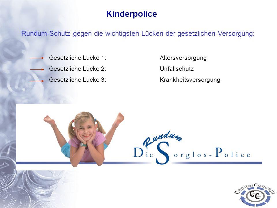 Kinderpolice Rundum-Schutz gegen die wichtigsten Lücken der gesetzlichen Versorgung: Gesetzliche Lücke 1: Altersversorgung Gesetzliche Lücke 2:Unfalls