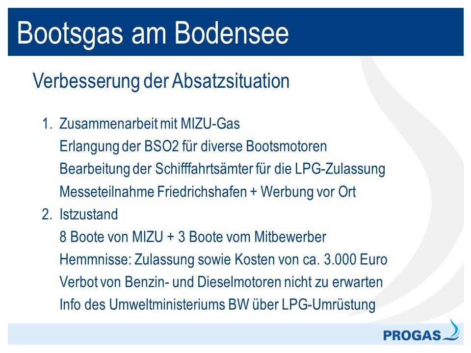 Bootsgas am Bodensee Verbesserung der Absatzsituation 1. Zusammenarbeit mit MIZU-Gas Erlangung der BSO2 für diverse Bootsmotoren Bearbeitung der Schif