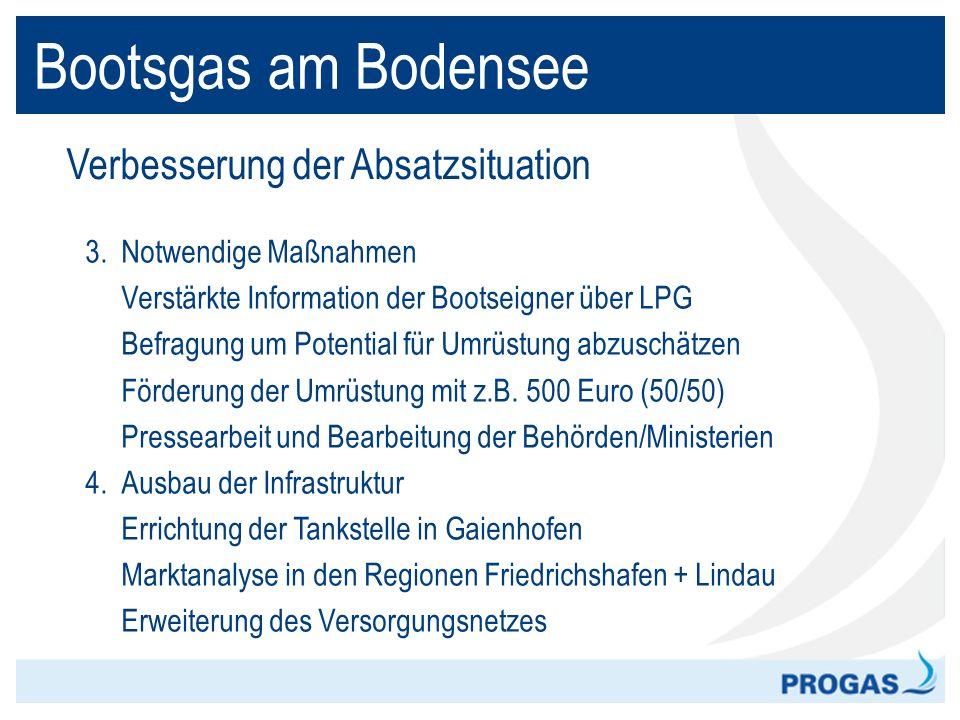 Bootsgas am Bodensee Verbesserung der Absatzsituation 3. Notwendige Maßnahmen Verstärkte Information der Bootseigner über LPG Befragung um Potential f