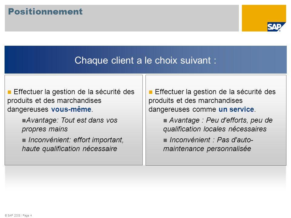 © SAP 2008 / Page 4 Positionnement Effectuer la gestion de la sécurité des produits et des marchandises dangereuses comme un service. Avantage : Peu d