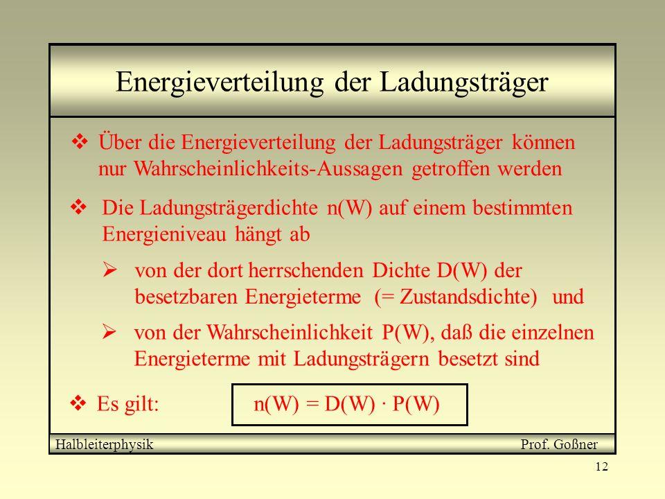 12 von der Wahrscheinlichkeit P(W), daß die einzelnen Energieterme mit Ladungsträgern besetzt sind Energieverteilung der Ladungsträger Über die Energi