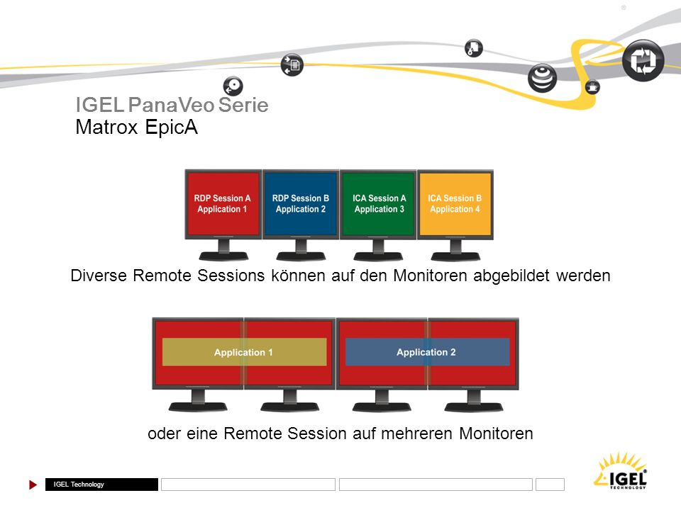 IGEL Technology ® Diverse Remote Sessions können auf den Monitoren abgebildet werden oder eine Remote Session auf mehreren Monitoren Matrox EpicA IGEL