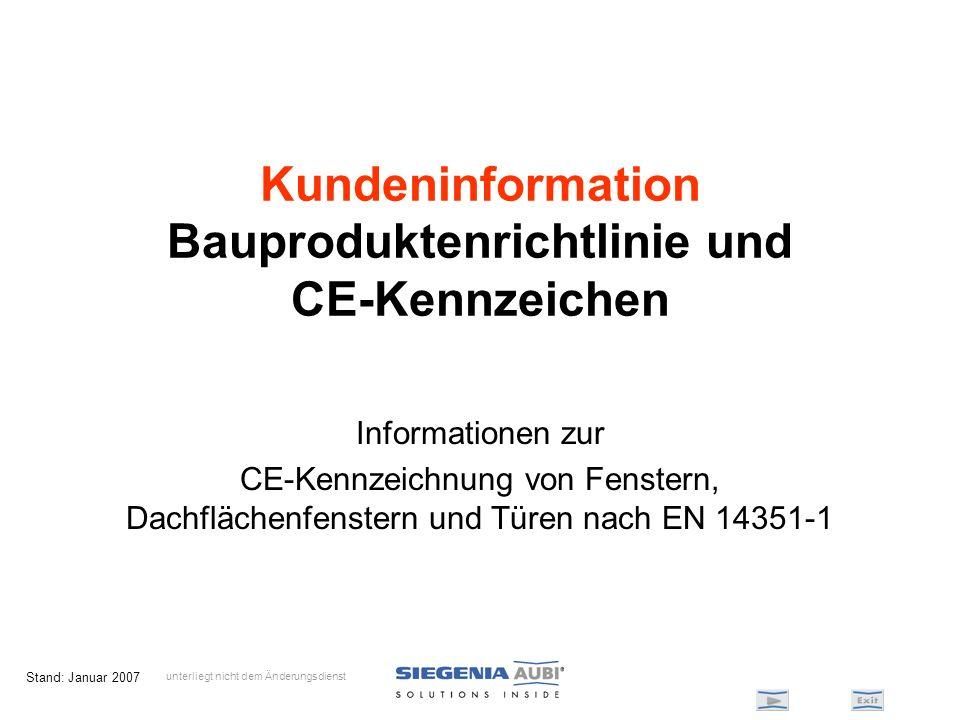 Stand: Januar 2007 Kundeninformation Bauproduktenrichtlinie und CE-Kennzeichen Informationen zur CE-Kennzeichnung von Fenstern, Dachflächenfenstern un