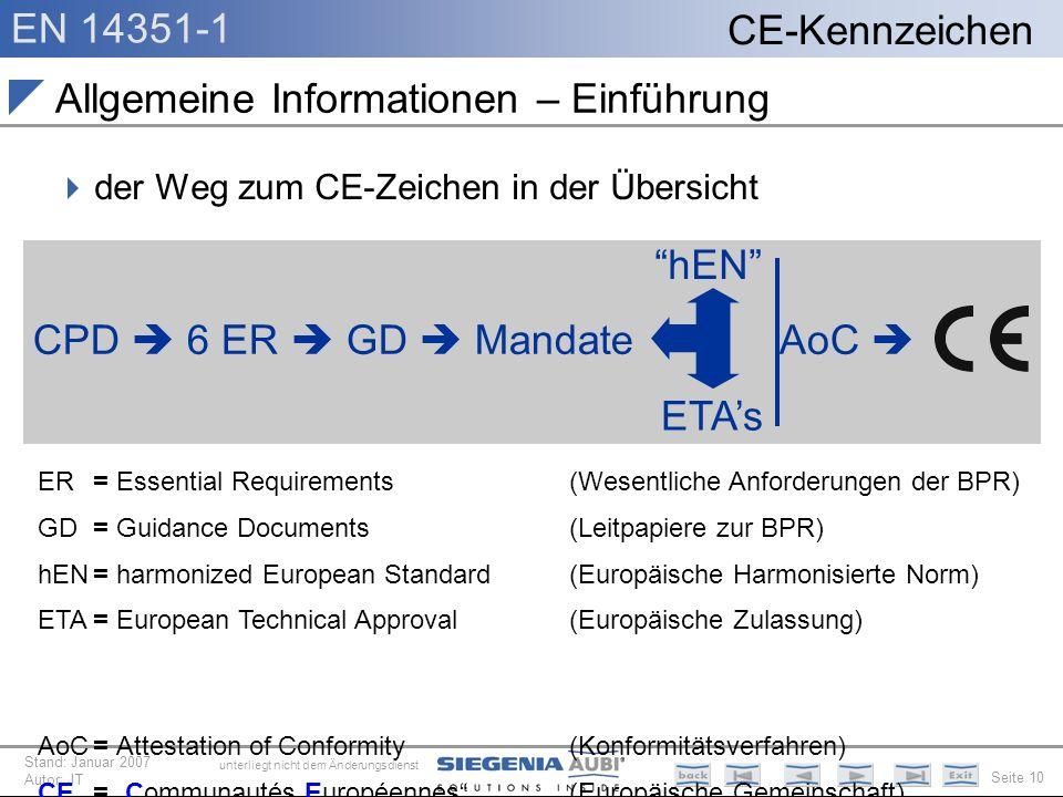 EN 14351-1 Seite 10 CE-Kennzeichen unterliegt nicht dem Änderungsdienst Stand: Januar 2007 Autor: JT Allgemeine Informationen – Einführung der Weg zum