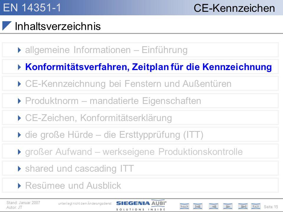 EN 14351-1 Seite 15 CE-Kennzeichen unterliegt nicht dem Änderungsdienst Stand: Januar 2007 Autor: JT Inhaltsverzeichnis allgemeine Informationen – Ein