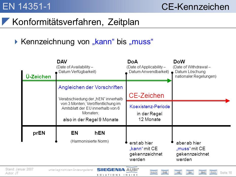 EN 14351-1 Seite 18 CE-Kennzeichen unterliegt nicht dem Änderungsdienst Stand: Januar 2007 Autor: JT Konformitätsverfahren, Zeitplan Kennzeichnung von
