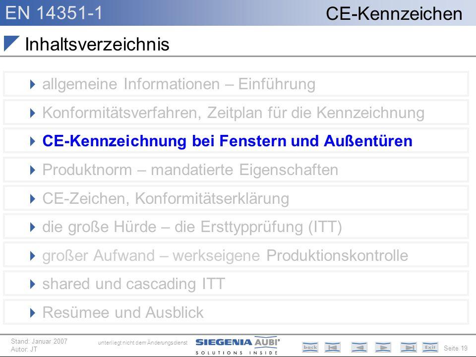 EN 14351-1 Seite 19 CE-Kennzeichen unterliegt nicht dem Änderungsdienst Stand: Januar 2007 Autor: JT Inhaltsverzeichnis allgemeine Informationen – Ein